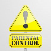 detailed illustration of a parental control warning roadsign, eps10 vector