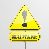 image of malware  - detailed illustration of a malware warning roadsign - JPG
