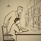 picture of conduction  - Chemists waiting for results of research in the laboratory retro illustration - JPG