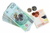 Polish And Euro Banknote Isolated