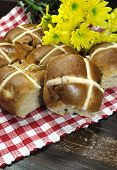Delicious English Style Happy Easter Hot Cross Buns Tradition For Good Friday Meal On Dark Vintage C