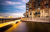 Long Exposure Of Bridge And Waterfront Condominiums In The Inner Harbor, Baltimore, Maryland.
