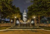 image of granite dome  - The Texas State Capitol Building in downtown Austin at Night - JPG