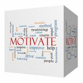 Motivate 3D Cube Word Cloud Concept