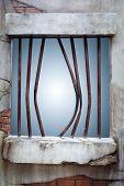 Jail Window On Brick Wall