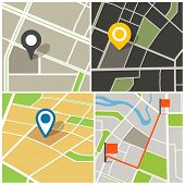 Abstract city map collection illustration