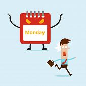 stock photo of early-man  - business man running away from Monday monster - JPG