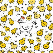 Little yellow chickens with mum white hen spring holiday Easter seamless pattern