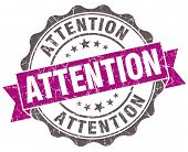 Attention Violet Grunge Retro Style Isolated Seal