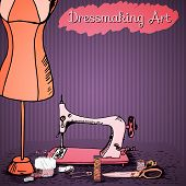Dressmaking art, vintage sewing kit