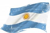 Argentinian grunge flag. flag of Argentine in the wind with a texture