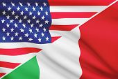 Series Of Ruffled Flags. Usa And Italy.