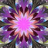 Symmetrical Pattern In Stained-glass Window Style. Blue, Purple And Pink Palette. Computer Generated
