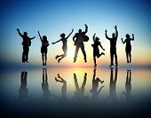 Group of Business People Jumping and Celebrating