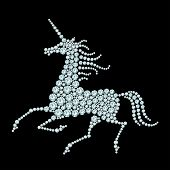 picture of unicorn  - Running unicorn diamond composition on black background - JPG