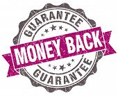 Money Back Violet Grunge Retro Style Isolated Seal