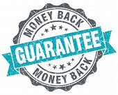 Money Back Guarantee Blue Grunge Retro Style Isolated Seal