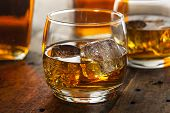 pic of whiskey  - Alcoholic Amber Whiskey Bourbon in a Glass with Ice