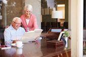Senior Couple Looking At Photo Album Through Window