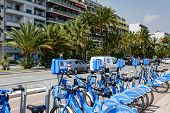 Row Of Bicycles For Hire At Promenade Des Anglais
