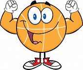 Happy Basketball Cartoon Character Showing Muscle Arms