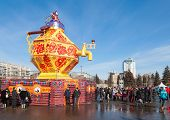 Russia, Samara - March 2, 2014: Samara People Celebrates Shrovetide. Maslenitsa Or Pancake Week Is T
