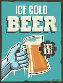 Vintage retro beer poster. Vector design sign. Ice cold beer with removable grunge texture effect.