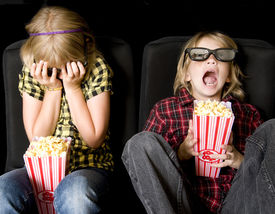 foto of movie theater  - Frightened Boy and Girl Wearing New Style 3 - JPG
