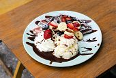 Ice Cream, Chocolate Waffles With Chocolate Sauce