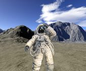 Digital Render Of Landscape With Astronaut