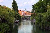 Ljubljana, Slovenia - Circa July 2014: Old Town Embankment In Ljubljana. Ljubljana Is The Business A