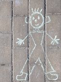 Funny Kids Drawing With Chalk