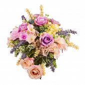 picture of centerpiece  - Bouquet from artificial flowers arrangement centerpiece in vase isolated on white background - JPG
