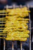 Grilled Satay Pork On Stove.