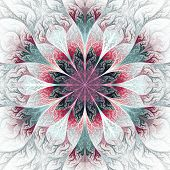 Beautiful Fractal Flower In Gray, Pink And Blue. Computer Generated Graphics.