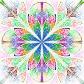 Multicolor Fractal Pattern In Stained Glass Window Style. Computer Generated Graphics.