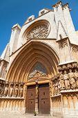 Entrance To Cathedral Of Tarragona. Roman Catholic Church In Catalonia, Spain