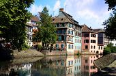 Petite France above canal, Old Town in Strasbourg France, Alsace.