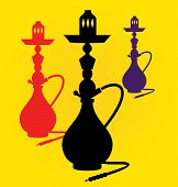 Vector illustration of different colors hookahs
