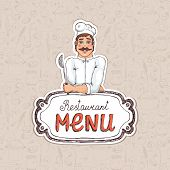 Chef Holding Spoon on Restaurant Menu Illustration