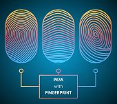 picture of fingerprint  - Fingerprint scanner with text  - JPG