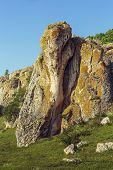 picture of unique landscape  - Mountain landscape with unique bizarre limestone rock formation some of the oldest in Europe dating back to Mesozoic period in Dobrogea Gorges  - JPG