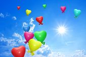 Beautiful Sunny Sky With Colorful Balloons