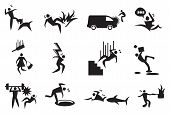 pic of dangerous situation  - Vector illustration of various accidents - JPG