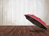 Rustic Room Interior, Red Umbrella