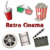 Set of colored Retro Cinema icons