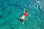 Man Snorkeling In The Sea