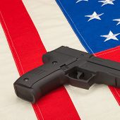Handgun Over Usa Flag