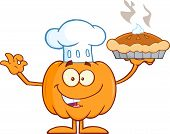 picture of pie-in-face  - Chef Pumpkin Cartoon Mascot Character Holding Perfect Pie - JPG