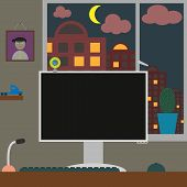 Flat vector illustration workspace. Room with home